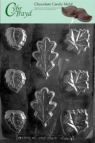 Asst Hard Candy Mold (Cybrtrayd Life of the Party F094 Oak Maple Leaf Soap Assorted Chocolate Candy Mold in Sealed Protective Poly Bag Imprinted with Copyrighted Cybrtrayd Molding Instructions)