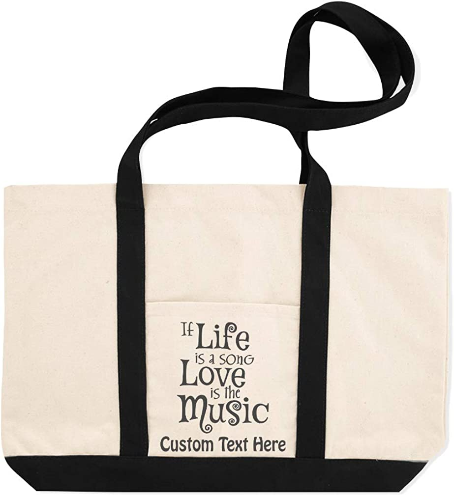 Canvas Shopping Tote Bag If Life Is Song Love The Music Inspiration /& Motivation Beach for Women