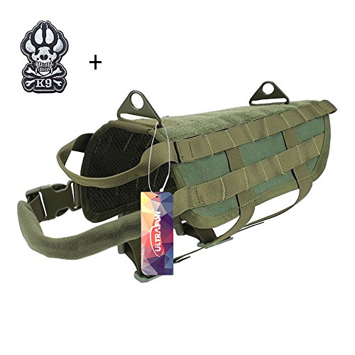 Ultrafun Tactical Dog Molle Vest Military Training Harness with Handle Outdoor Pet Supplies (Green, M) Review