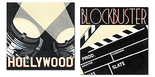 Movie Night! Classic Hollywood and Blockbuster Film Old-Fashioned Movie by Marco Fabiano; Two 12x12in Paper Posters (Old Hollywood Posters)
