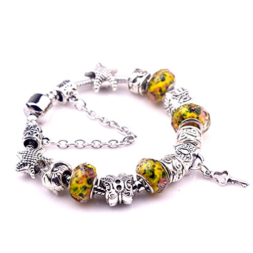 [BENNINGCO Yellow Crystal Beads With Key Pendant Charm Bracelet(Size,17CM)] (Diy Pageant Girl Costume)