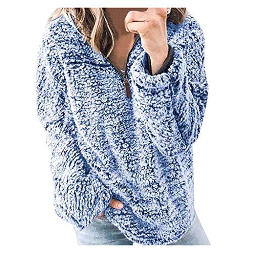 Respctful✿ Women's Winter Fuzzy Fleece Coat Long Sleeve Oversized Pullover Jacket Outwear Sweatshirt Tops Coat with Pocket