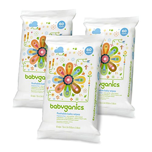 Babyganics Flushable Baby Wipes, Fragrance Free, 60 Count – Packaging May Vary (Pack of 3, 180 Total Wipes)