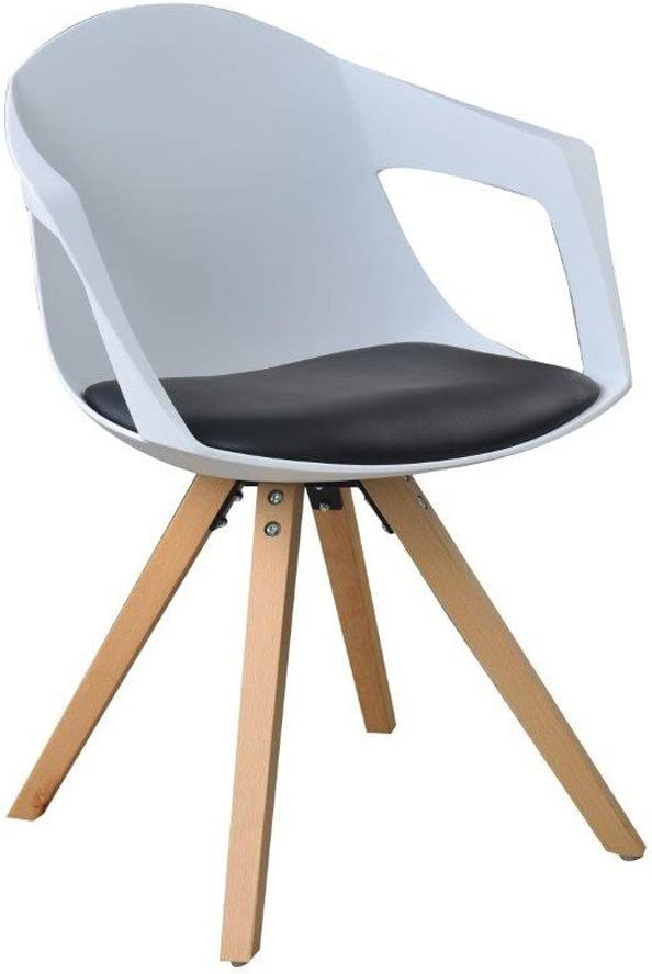 Juego de 2 sillas nórdicas de Madera con reposabrazos, Color Negro ...