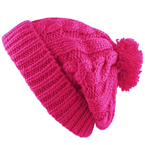 Pink Winter Beanie (THE HAT DEPOT Winter Thick and Warm Pom Pom Fleece Lined Skully Knit Beanie Hat (Hot Pink))