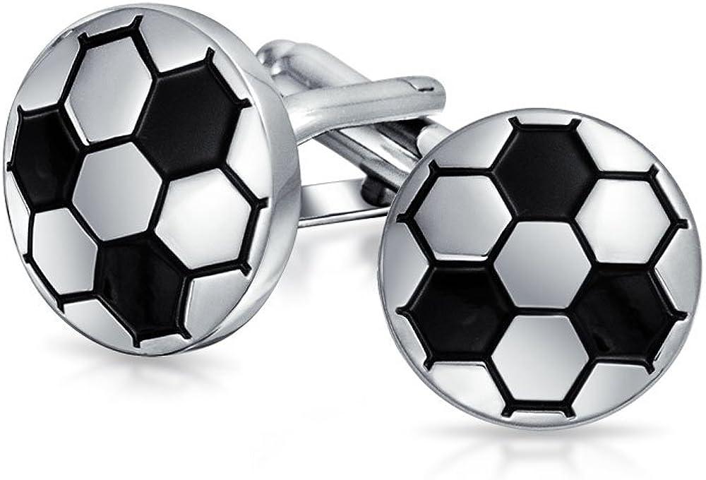 Bling Jewelry Soccer Football Sports Coach Black Cufflinks for Men Shirt Cuff Links Hinge Back Silver Tone Brass Steel Enamel