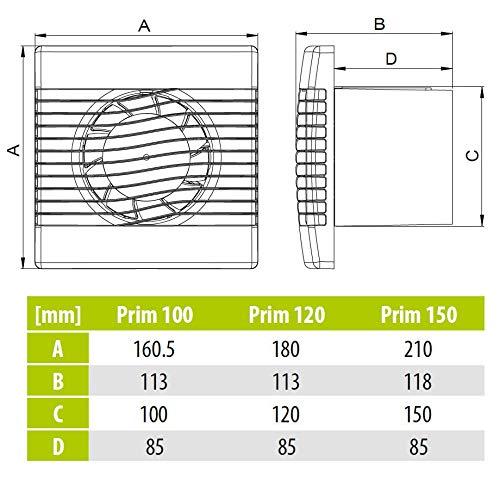 Calidad pared ba/ño cocina extractor ventilador de 120mm con temporizador prim ventilador