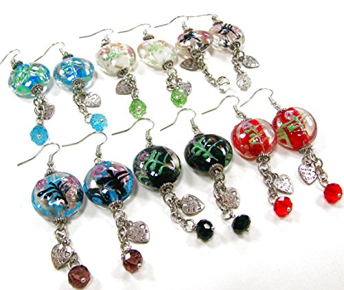 Linpeng / Woman's Earrings  / Lampwork Beads Drop Earrings  /hand painted flowers / Beads sizes approx. 8 to 20mm / Length around 2