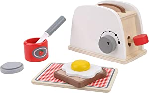 Queen.Y Wooden Pop- up Toaster, Toy Pretend Play Kitchen Set with Accessories Kitchen Toy Set for Over 3 Years Old