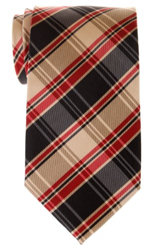 Retreez Retro Styles Tartan Plaid Woven Microfiber Men's Tie - Khaki, Black and Red (Polyester Plaid Tie Red)