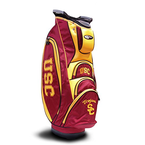Team Golf NCAA USC Trojans Victory Golf Cart Bag, 10-way Top with Integrated Dual Handle & External Putter Well, Cooler Pocket, Padded Strap, Umbrella Holder & Removable Rain Hood