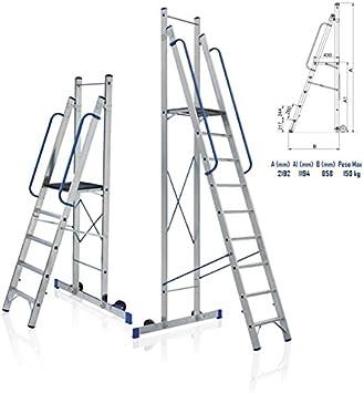 Takestop® Escalera plegable de aluminio con plataforma antideslizante y ruedas. Andamio multifunción. Peso máximo: 150 kg. Varios usos (comercios, reparaciones, etc.).: Amazon.es: Electrónica