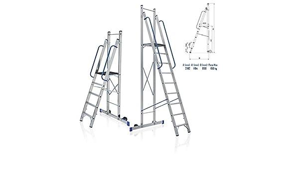 Takestop® Escalera plegable de aluminio con plataforma ...