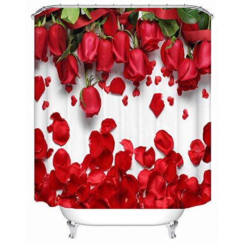 72 x 78 Inch Red Rose Petals Printed Polyester Fabric Shower Curtains for Bathroom Includes 12 ()