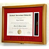Graduation Diploma and Tassel Frame Display Case 11 x 8.5 w/Custom Matting (Oak Finish)