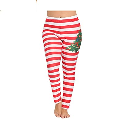 038f22ad37 Alimao Womens Fashion Plus Size Christmas Stripe Print Lounge Leggings  Sport Yoga Athletic Pants Red