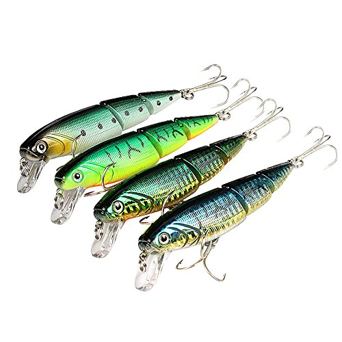 YOGAYET Minnow Fishing Lure Hooks Hard Plastic Baits Topwater Floating Crankbait for Pikes Bass Trout Walleye Redfish 5pcs/lot