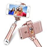 Wireless Selfie Stick,Draway Upgrade Smaller and Lighter Three Level 270 Degree Fill Light Phone Stick for Iphone/Samsung Galaxy/Android Phone(Rose-Gold)