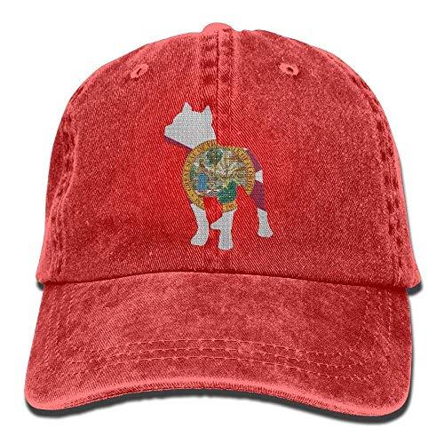 (Patriotic Pitbull Florida Flag Vintage Denim Baseball Cap Adjustable Dad Hat)