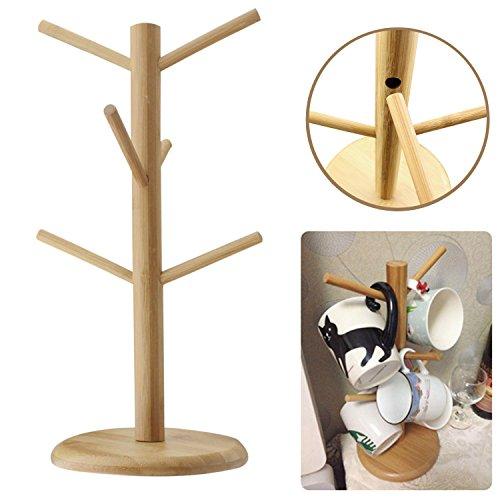 EGOODBEST Wooden Mug Tree Coffee Tee Cup Holder Stand Rac...