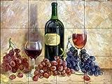 Ceramic Tile Mural - Wine and Grapes - by Theresa Kasun - Kitchen backsplash/Bathroom Shower