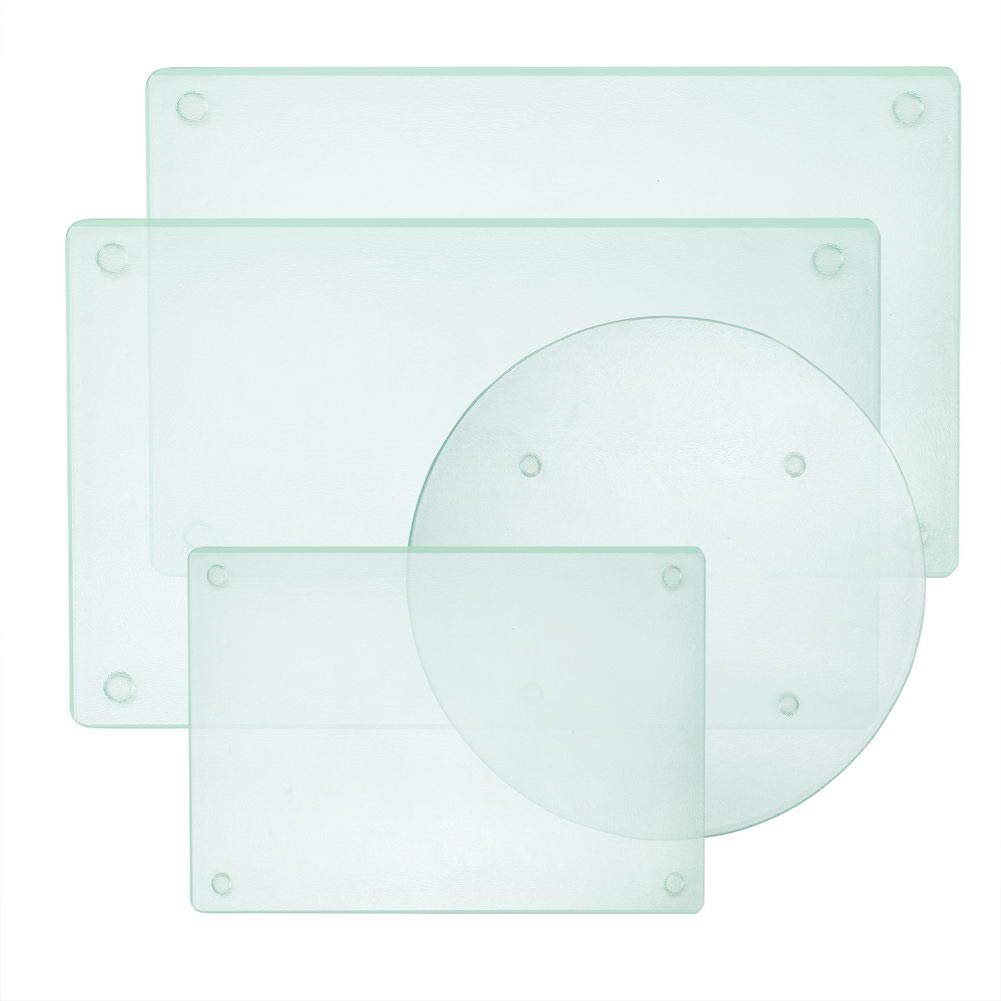 Round Clear Tempered Glass Cutting Board Set, 4 Pcs, Tableware Kitchen Decorative Trays with Non-slip Legs by Murrey home
