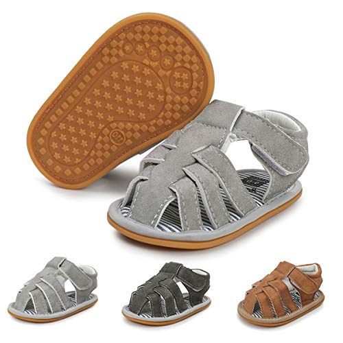 - Baby Boys Girls Summer Sandals Closed-Toe Outdoor Soft Sole Anti-Slip Toddler First Walker Infant Newborn Crib Shoes (6-12 Months M US Infant, A-Light Grey)