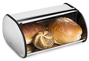 Greenco Stainless Steel Bread Bin Storage Box, Roll up Lid (Stainless steel)