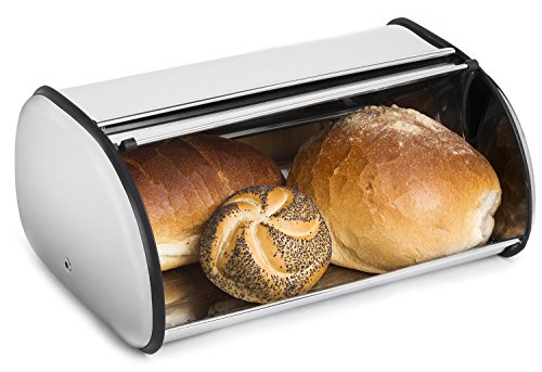 Greenco Stainless Steel Bread Bin Storage Box, Roll up Lid (Stainless steel) by Greenco