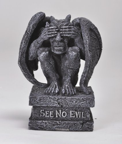 No Evil Gargoyle Statues (4 Inch See No Evil Engraved Sitting Gargoyle Statue Figurine)