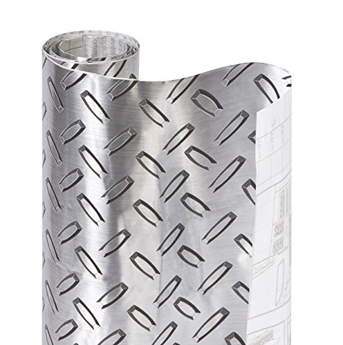 Smart Design Shelf Liner w/Metallic Adhesive - Wipes Clean - Cutable & Removable Material - Easy Peel Design - Shelves, Drawers, Flat Surfaces - Kitchen (18 Inch x 6 Feet) [Diamond Thread Plate]
