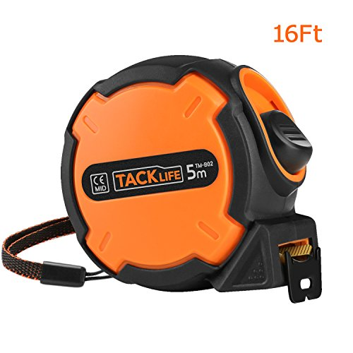 Tacklife TM-B02 Classic Tape Measure 16Ft(5M) Self-Marking Ruler with Hook for Construction, Home Improvement, Carpentry, Measurement.