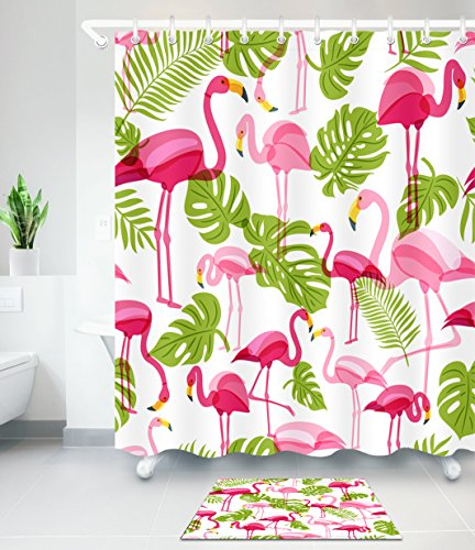 LB Pink Flamingo Green Tropical Leaves Clip Art Decor Shower Curtain Set, 70 x 70 Shower Curtain Waterproof Mold Free, 15 x 23 in Slip Proof Bathroom Rug