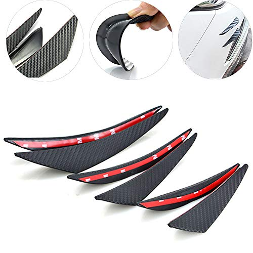 Front Bumper Lip Splitters, MAXTUF 6Pcs Carbon Fiber Style PVC Stamping Fins Spoilers Bumper Canards External Body with 3M Adhesive Easy to Install Fit for Most of Cars