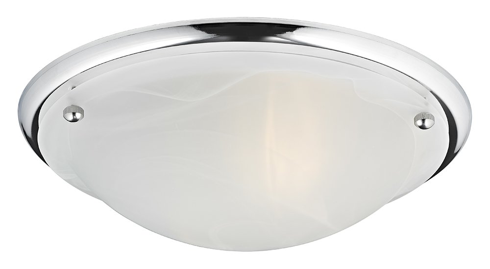Haysom Interiors Contemporary IP44 Alabaster Glass Flush Bathroom Ceiling Light, Metal, Polished Chrome Haysoms HA2022CC