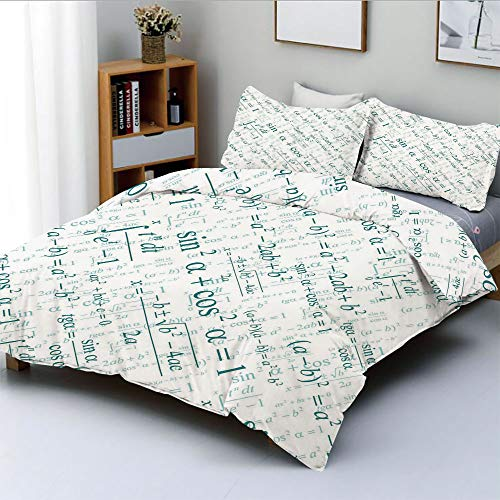 - Duplex Print Duvet Cover Set Queen Size,Various Complex Math Formulas Operations Science Research Study DecorativeDecorative 3 Piece Bedding Set with 2 Pillow Sham,Teal White,Best Gift For Kids & Adul