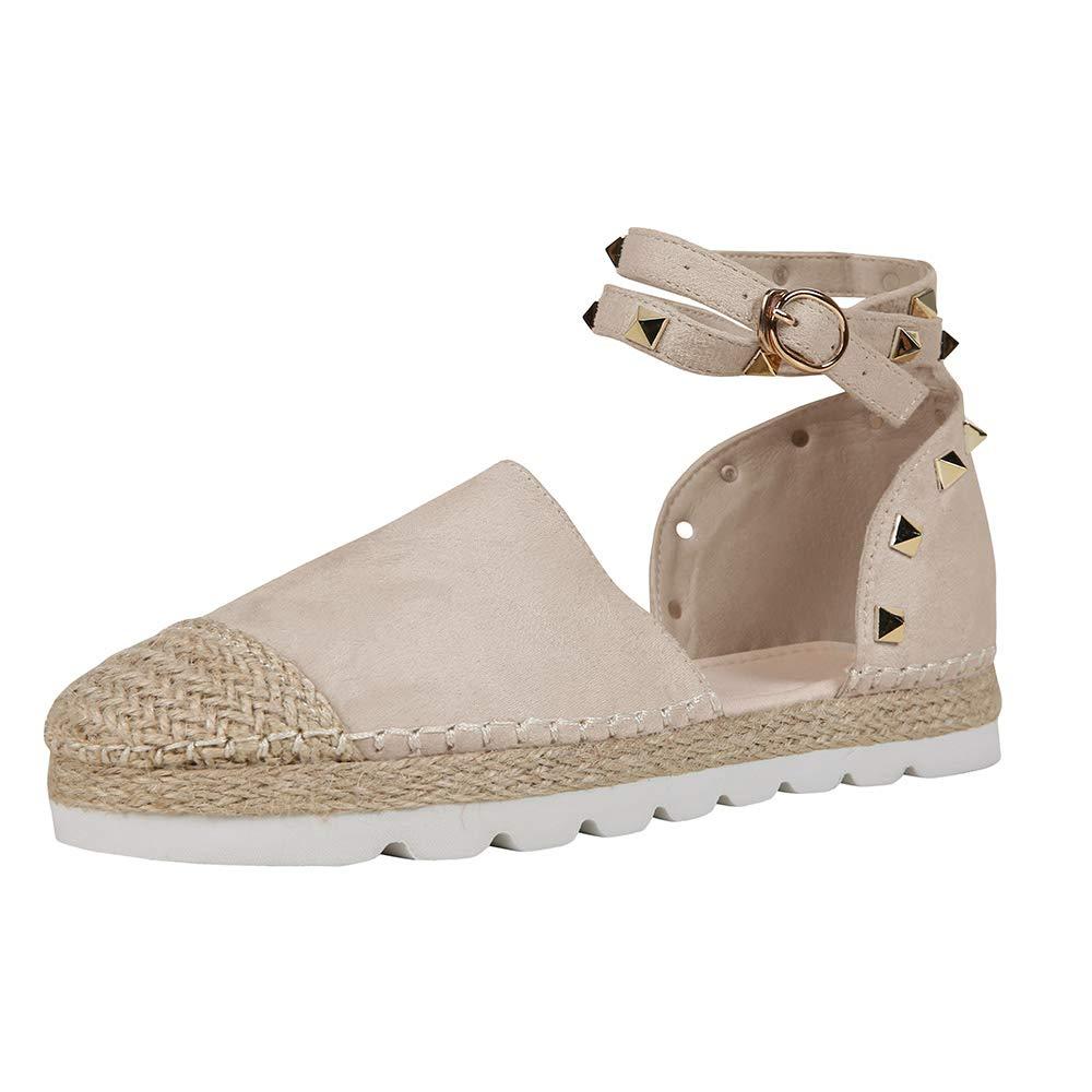 E-light Pink Syktkmx Womens Espadrilles Lace Up Flat Platform Ankle Strap Wrap Summer D'Orsay Sandals