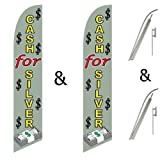 Twin Pack Swooper Flags & Pole Kits Cash For Silver Stacks Of Money Dollar Signs
