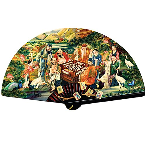 The Eight Immortals Playing Mah Jongg - Chinese Game Fan Shaped - 1000pc Shaped Jigsaw Puzzle by SunsOut