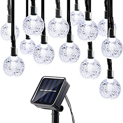 Lumitify Globe Solar String Lights, 19.7ft 30 LED Fairy Crystal Ball Lights, Outdoor Decorative Solar Lights for Christmas Home, Garden, Patio, Lawn, Party and Holiday(White) ¡­