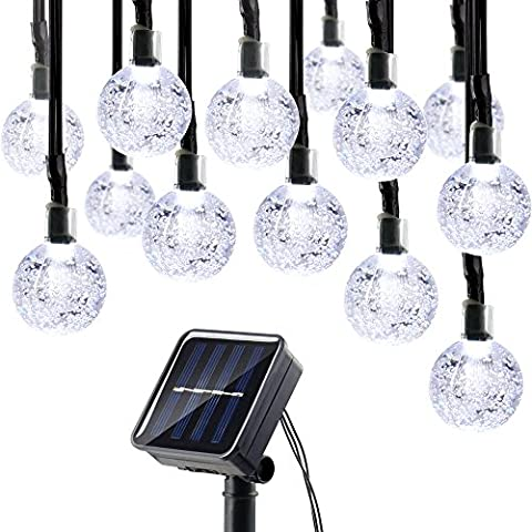 Lumitify Globe Solar Christmas String Lights, 19.7ft 30 LED Fairy Crystal Ball Lights, Outdoor Decorative Solar Lights for Home, Garden, Patio, Lawn, Party and - Christmas Lawn Lights