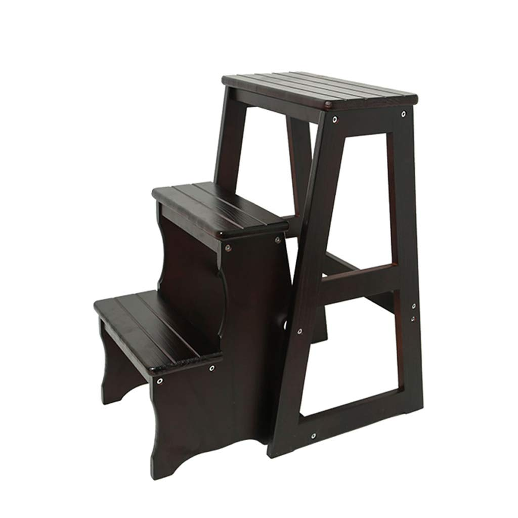 Step Stool Solid Wooden Ladder Stool Multifunction Foldable Entrance Shoe Bench Library Home 3 Steps (3 Colour)(64cmX56cmX36cm) (Color : Black) by LWZ-Stools
