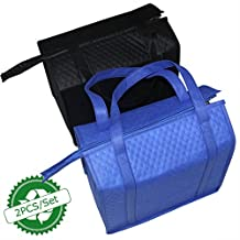BAGHOME 2PCS Insulated Cooler Shopping Bags Lunch Bag Black+Blue