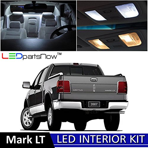 LEDpartsNow 2006-2008 Lincoln Mark LT LED Interior Lights Accessories Replacement Package Kit (8 Pieces), WHITE