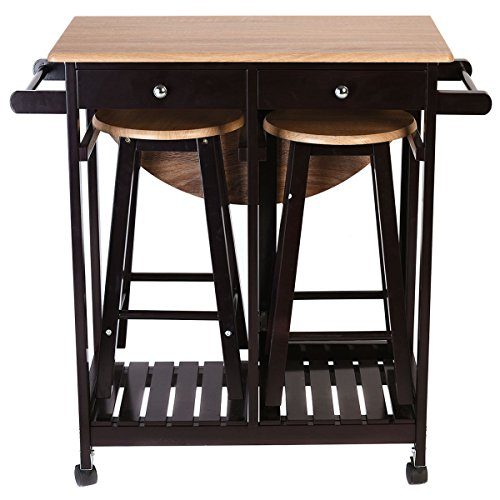 Kitchen Table With Chairs On Wheels: Giantex 3PCS Wood Kitchen Rolling Casters Fold Table Drop