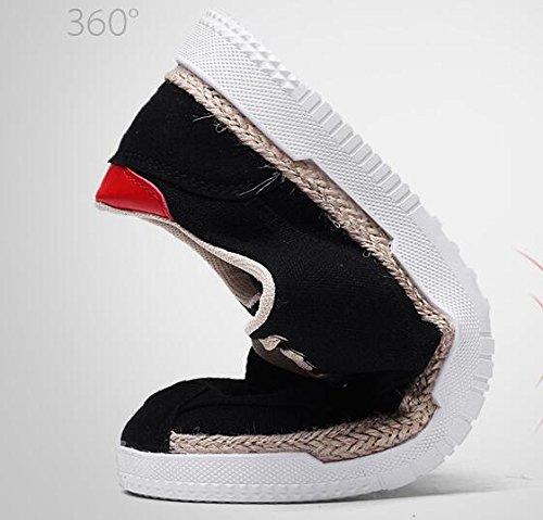 Men's Shoes Lightweight JACKDIANE Breathable Casual Black Comfortable Linen Canvas fdxSUq