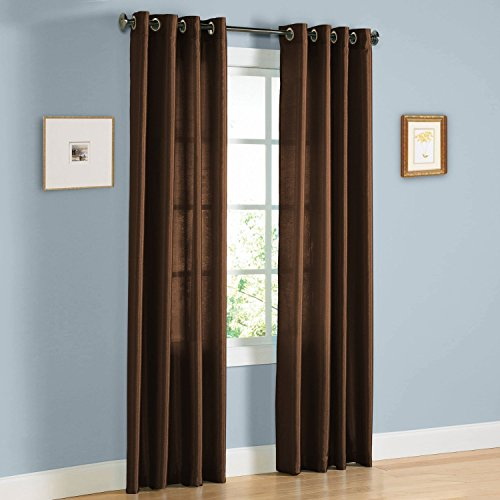 Curtain panels set of 2 window curtains (38x84) (chocolate) faux silk panel set By United Linens