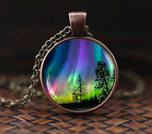 Polar Pendant Light (Northern lights pendant, northern light Jewelry, light necklace, Aurora Borealis necklace, Aurora necklace)