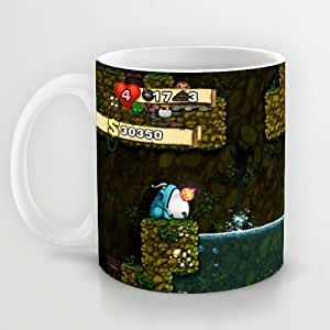 Great Gift Choice - Gaming Mugs,White 11 oz Classic White Ceramic Mugs with Spelunky Wallpaper Coffee Mugs/Tea Mugs/Drink Cups - Dishwasher and Microwave Safe