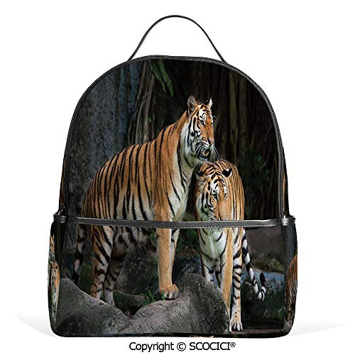 (All Over Printed Backpack Tiger Couple in the Jungle on Big Rocks Image Wild Cats in Nature Print,Grey and Ginger,For Girls Cute Elementary School Bookbags)